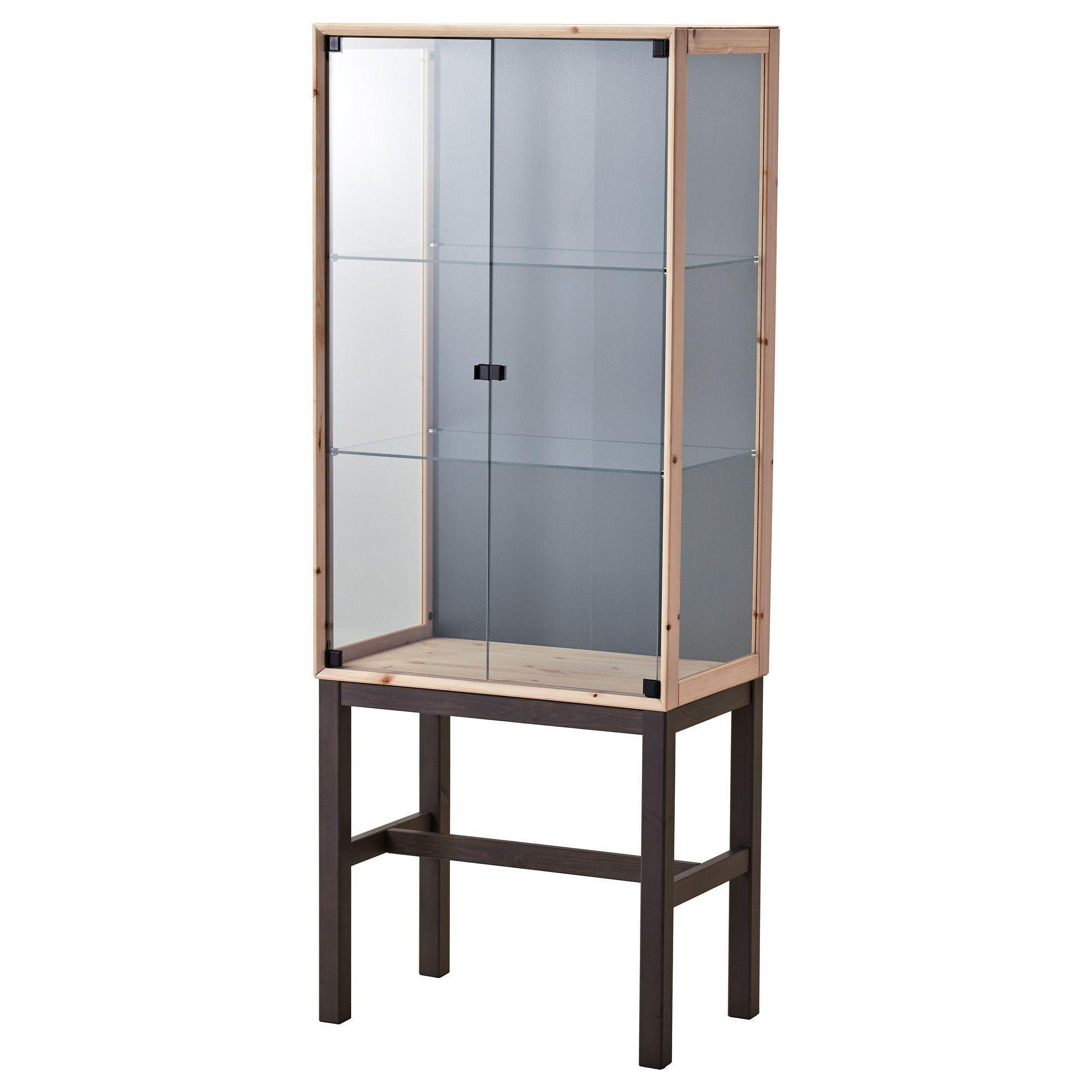 ikea - nornÄs, glass-door cabinet with 2 doors, , , untreated solid