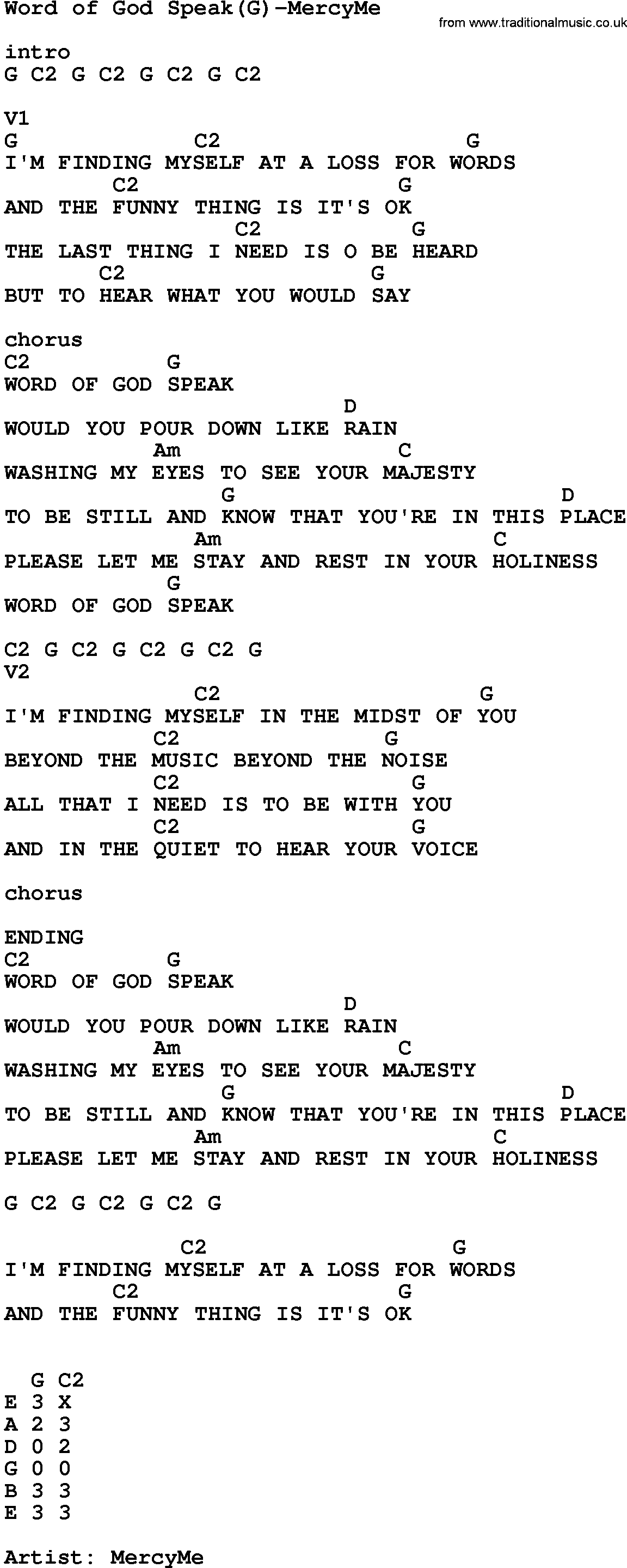 Gospel Song Word God Speak G Mercyme lyrics and chords