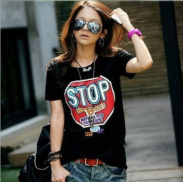 2014 new Jersey   summer shirt cotton T-shirt T-Shirt Ladies T-shirtsFree delivery of printed T-shirts for women