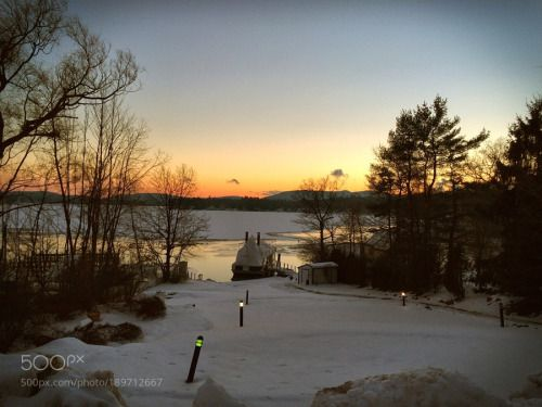 Winter Sunset by glennd  landscape lake frozen sunset winter water cold tree snow evening outdoors no person New Hampshire Wo