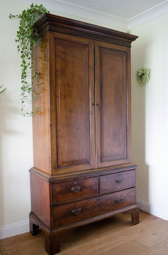 Stunning Antique 19th Century Victorian Mahogany Wardrobe Armoire Hanging  Robe in Antiques, Antique Furniture, - Stunning Antique 19th Century Victorian Mahogany Wardrobe Armoire