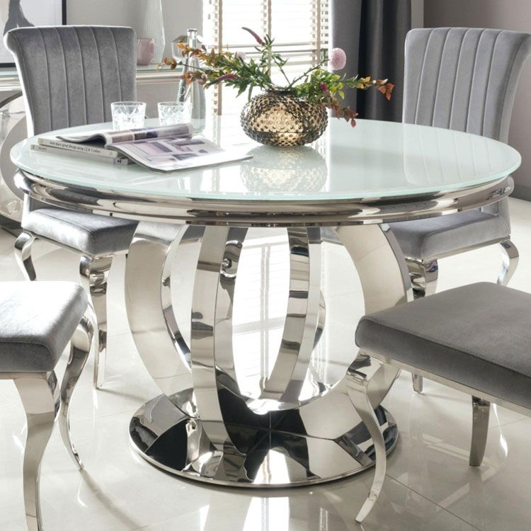 A Trendy Cooking Area With A Round Table Placed A Few Steps From The Cooking Area Island Is Round Dining Room Table Glass Round Dining Table Glass Dining Table