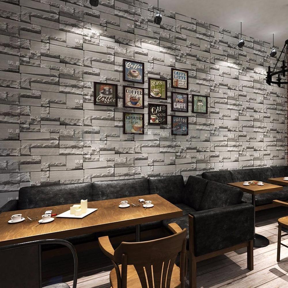 3D 10M Wallpaper Bedroom Mural Roll Modern Stone Brick