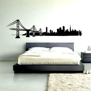 San Francisco Skyline Wall Art Decal Vinyl Sticker Decor Mural Transfer  Bridge
