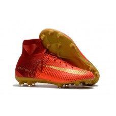 6bc1d256f0 Botas De Futbol Nike Mercurial Superfly V CR7 FG Rojo Dorado Sitio ...