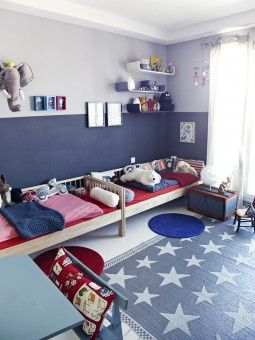 camas de ikea pared a doble color azules y rojo