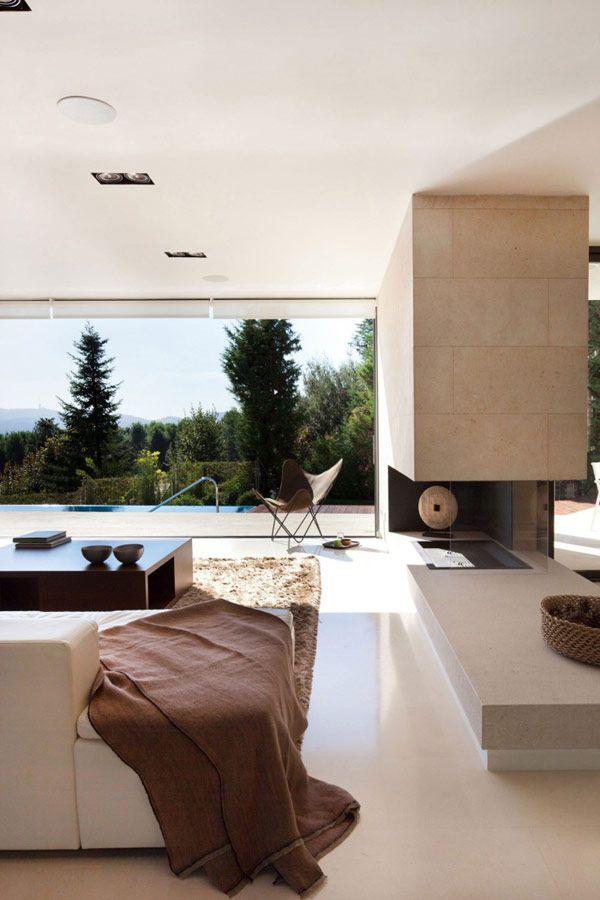 moderne holz residenz spanien schlafzimmer natur umgebung ...