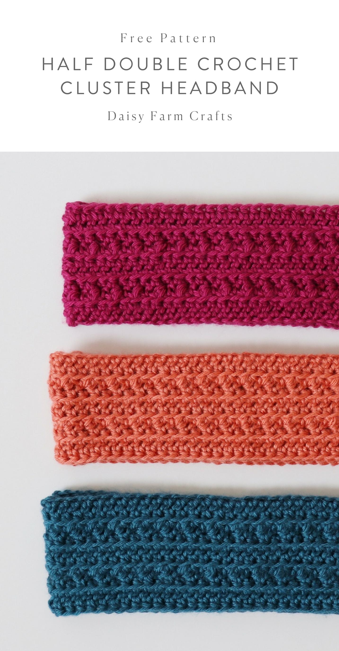 Free Pattern - Half Double Crochet Cluster Headband #crochetheadbandpattern