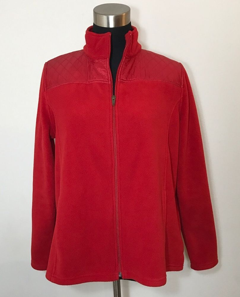 Talbots Womens Size Lp Jacket Fleece Quilted Red Large