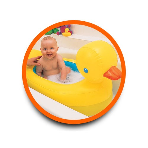 Munchkin Inflatable Safetytub Yellow Brown Baby Tub - Bathing Baby Without Tub