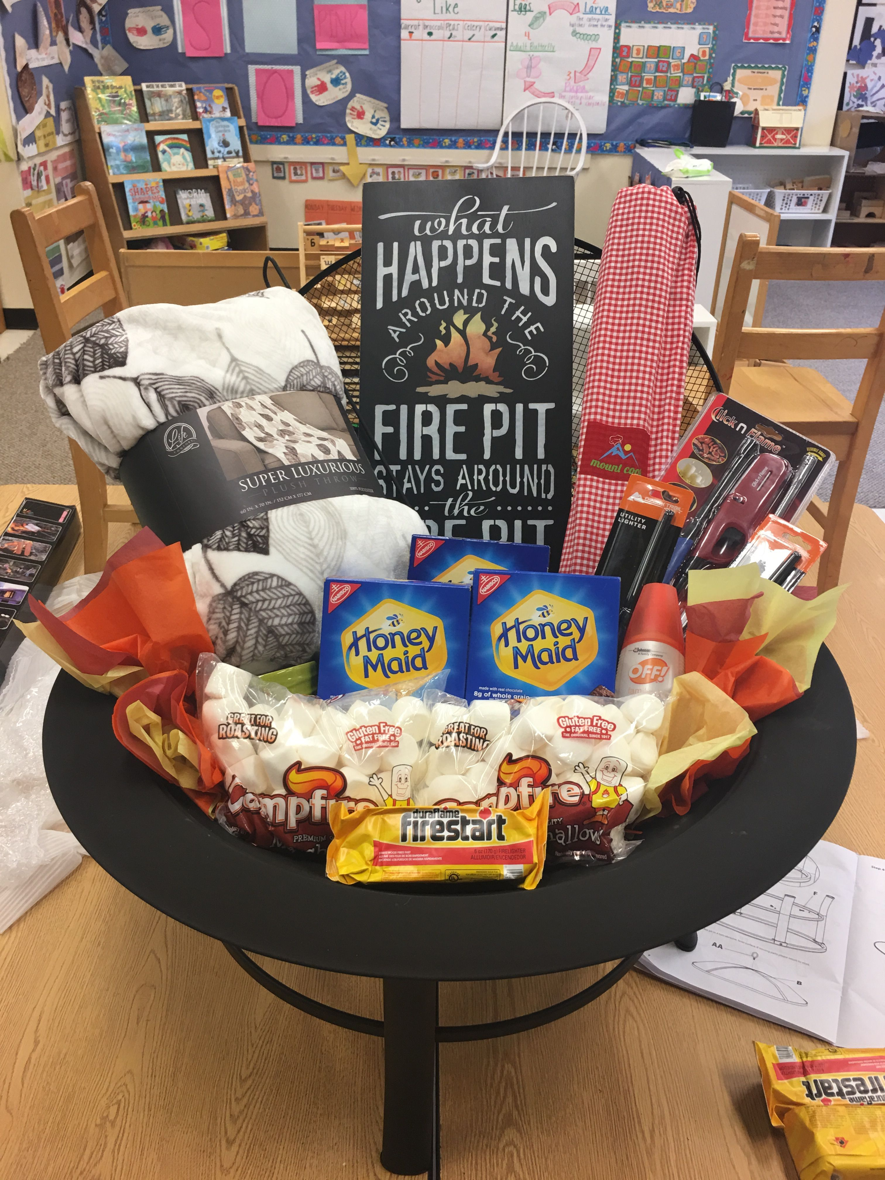 Fire pit auction basket christmas gift baskets diy