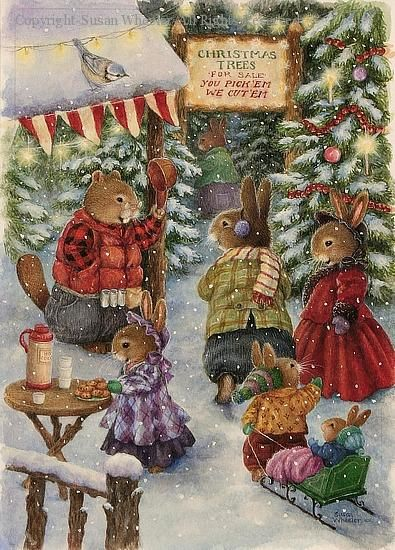 Christmas Tree Farm With Beaver Susan Wheeler Bunny Art Christmas Art