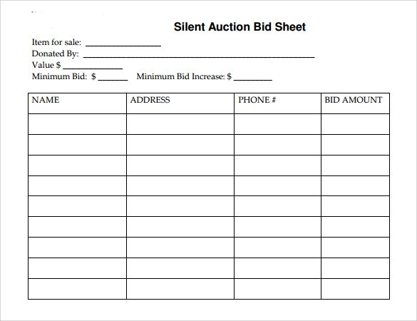 Printable Silent Auction Bid Sheet Template  Auction