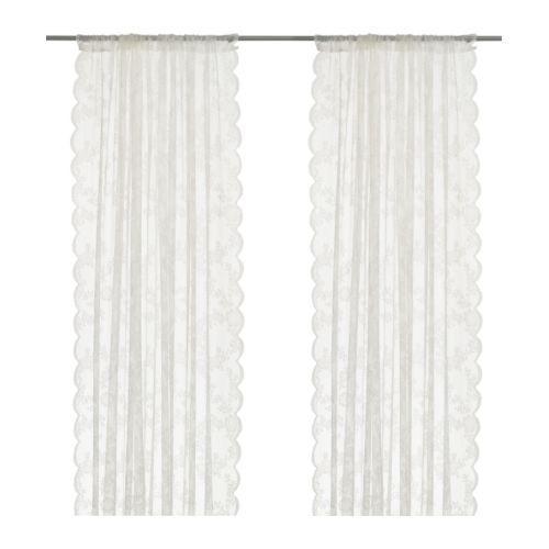 ALVINE SPETS Lace curtains, 1 pair, off white | Stangen, Aufhängen
