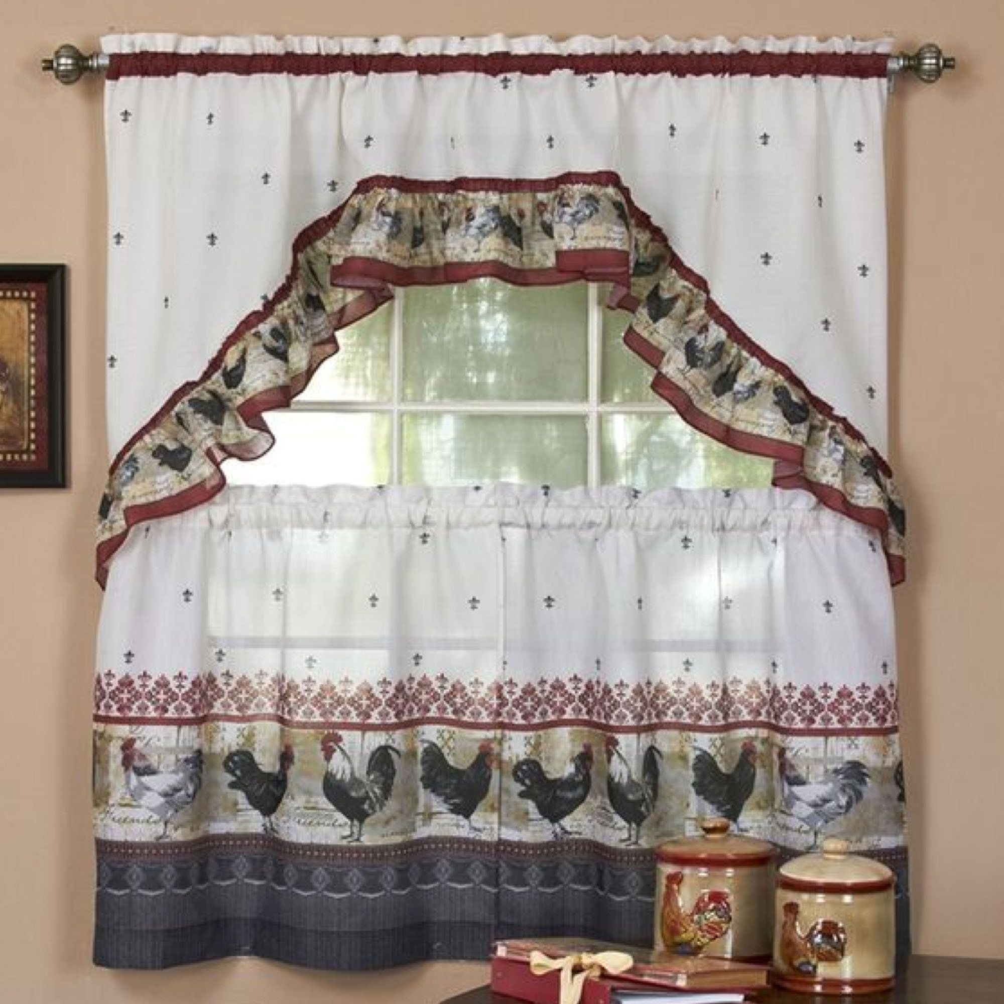 Rooster Tier and Swag Set Burgundy | curtains | Pinterest | Cortinas ...