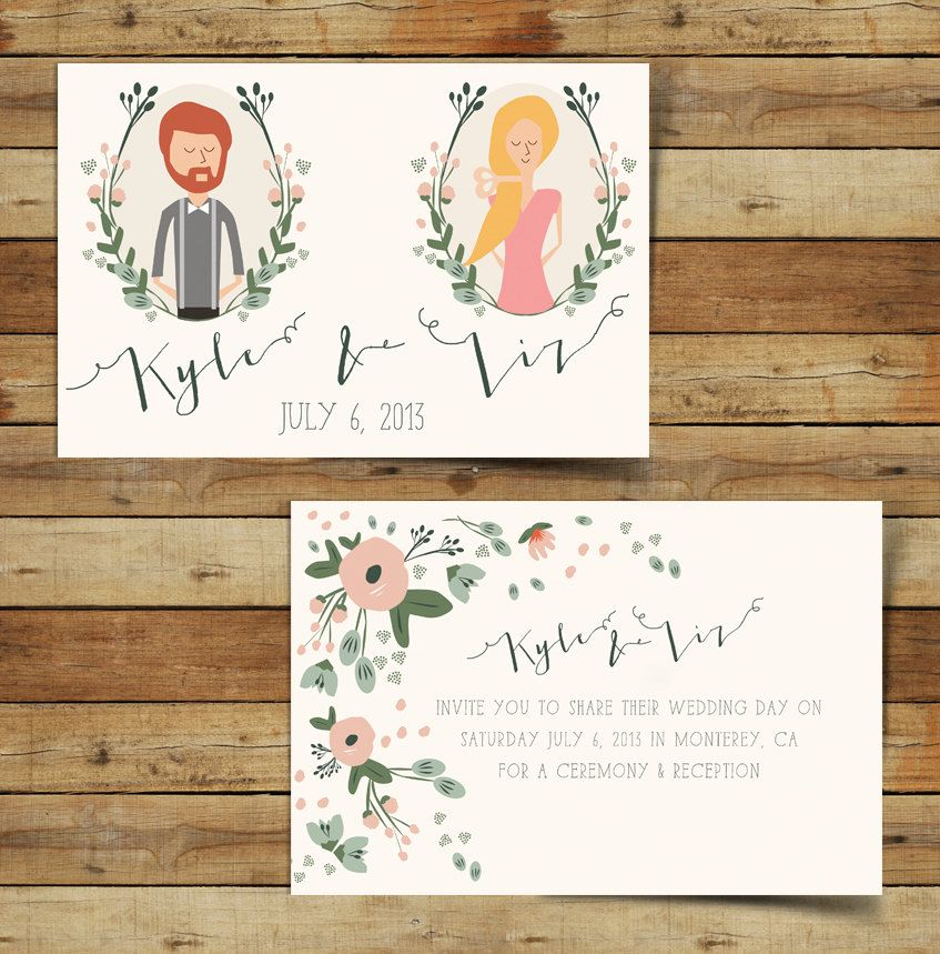 Last Minute Wedding Gift Printable Couples Portrait Or