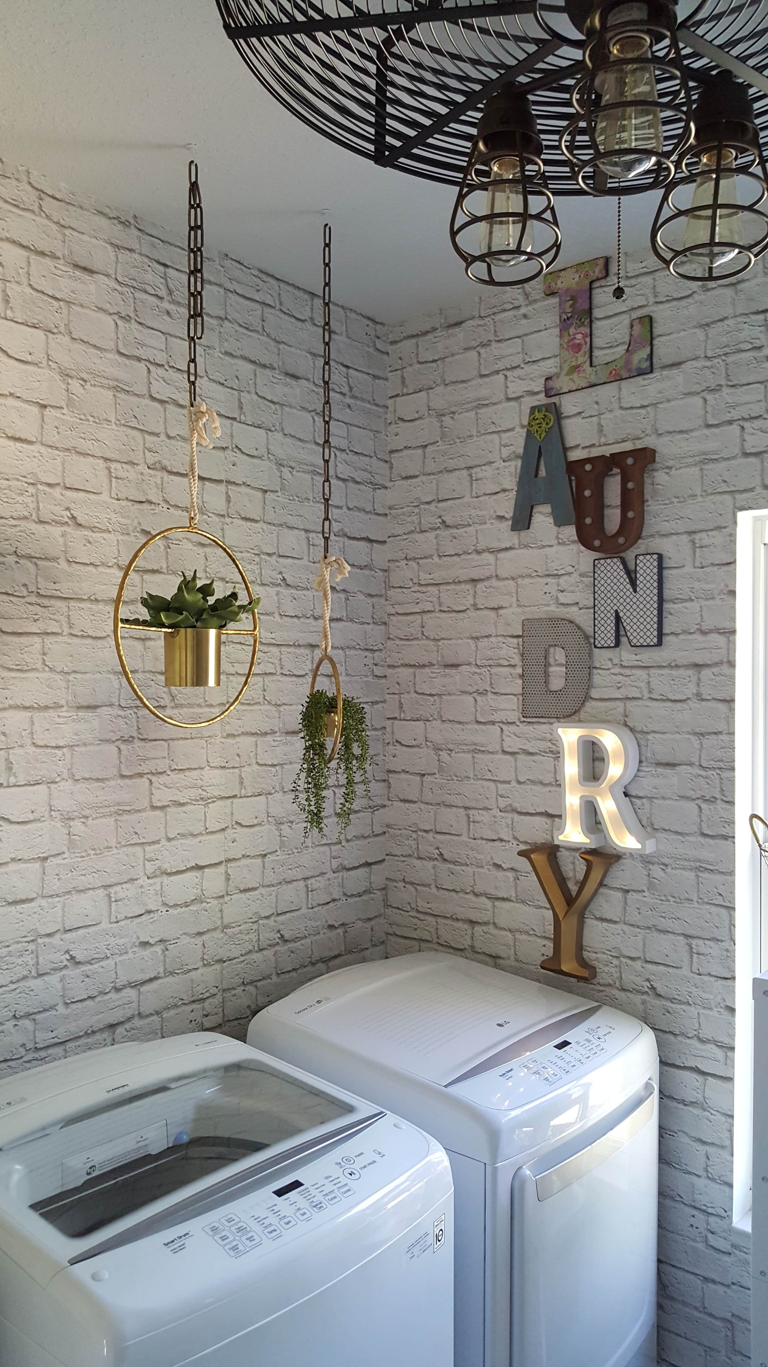 Beesnburlap One Room Challenge Urban Industrial Vintage Glam Laundry Room