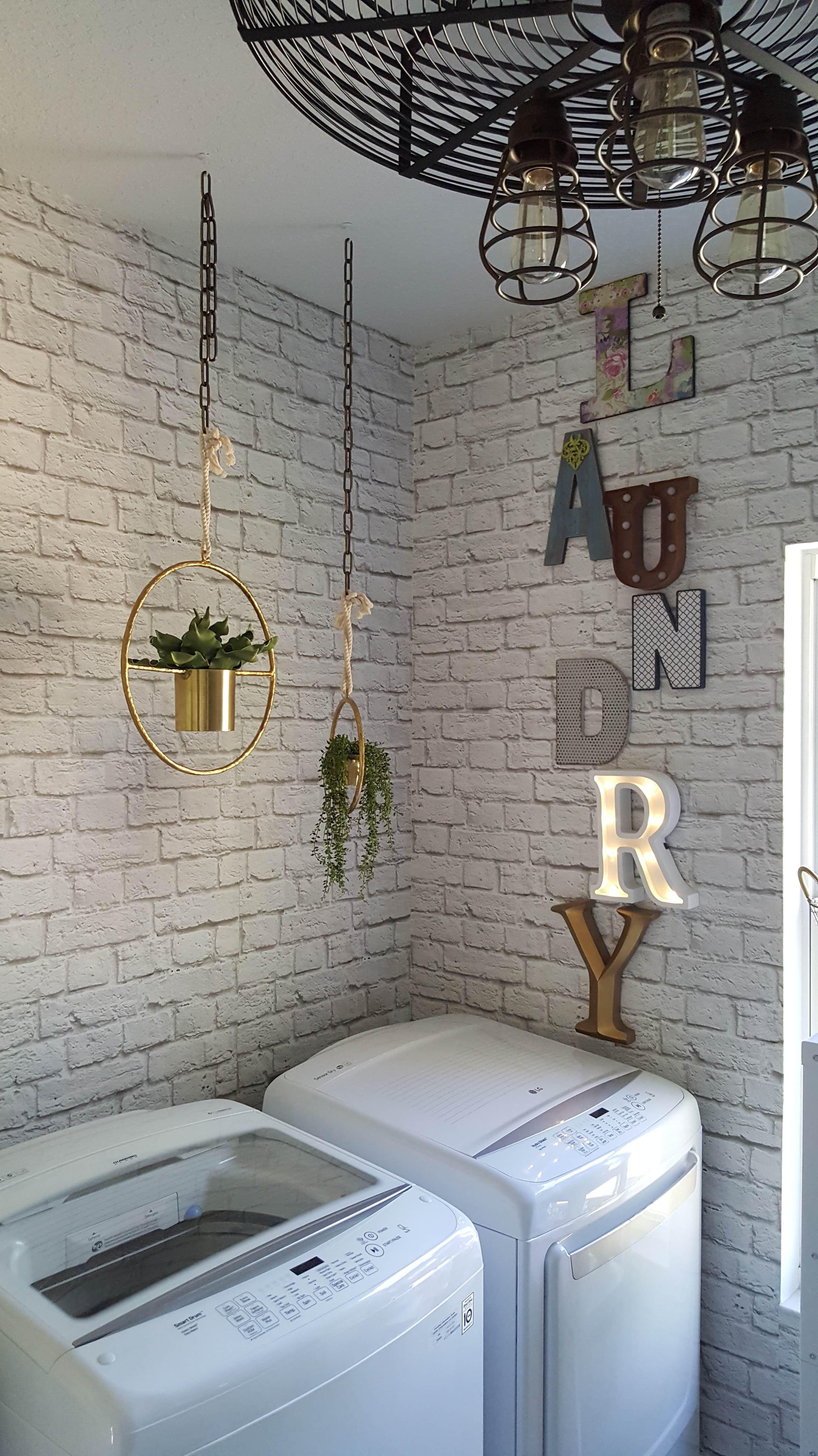 Beesnburlap One Room Challenge Urban Industrial Vintage Glam Laundry Room