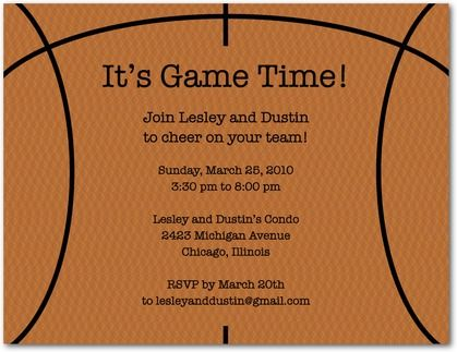 game time basketball party invitation postcards in rust sarah hawkins designs - Basketball Party Invitations