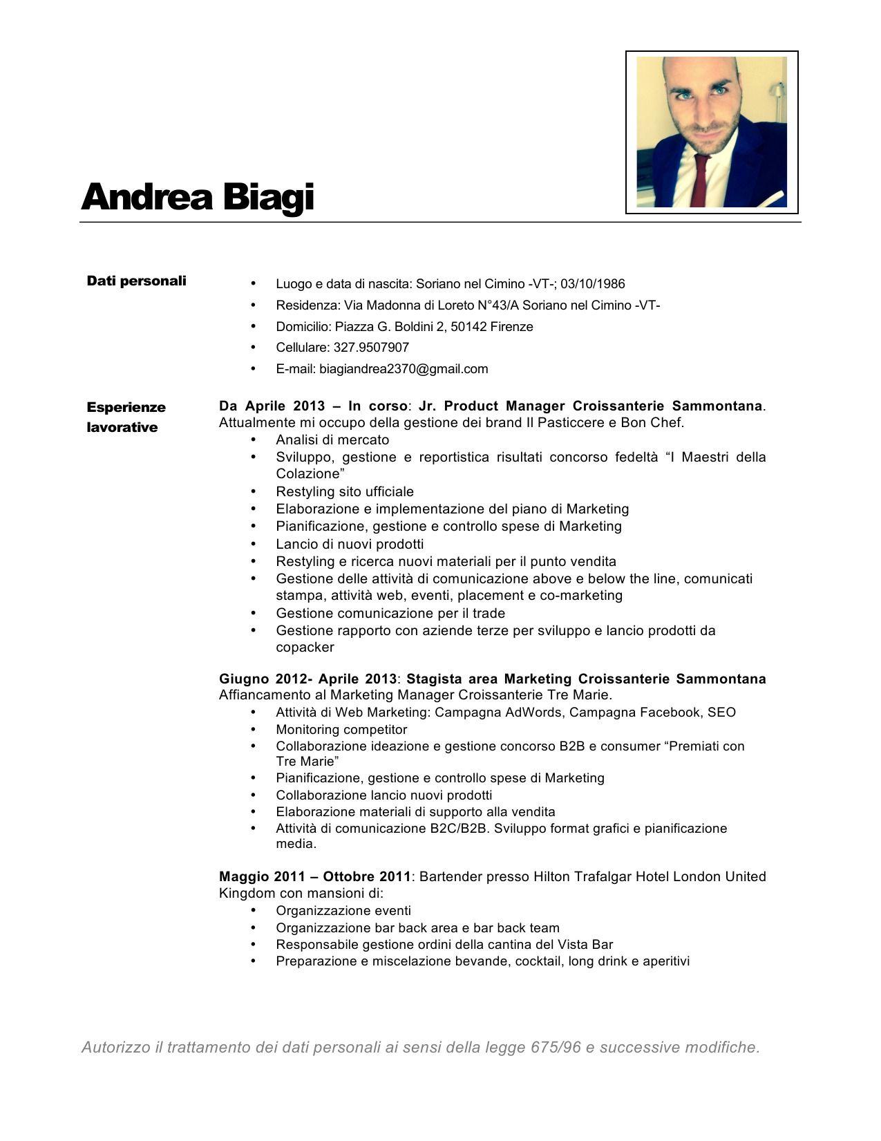 CV Andrea Biagi pagina 1 | Curriculum Vitae | Pinterest