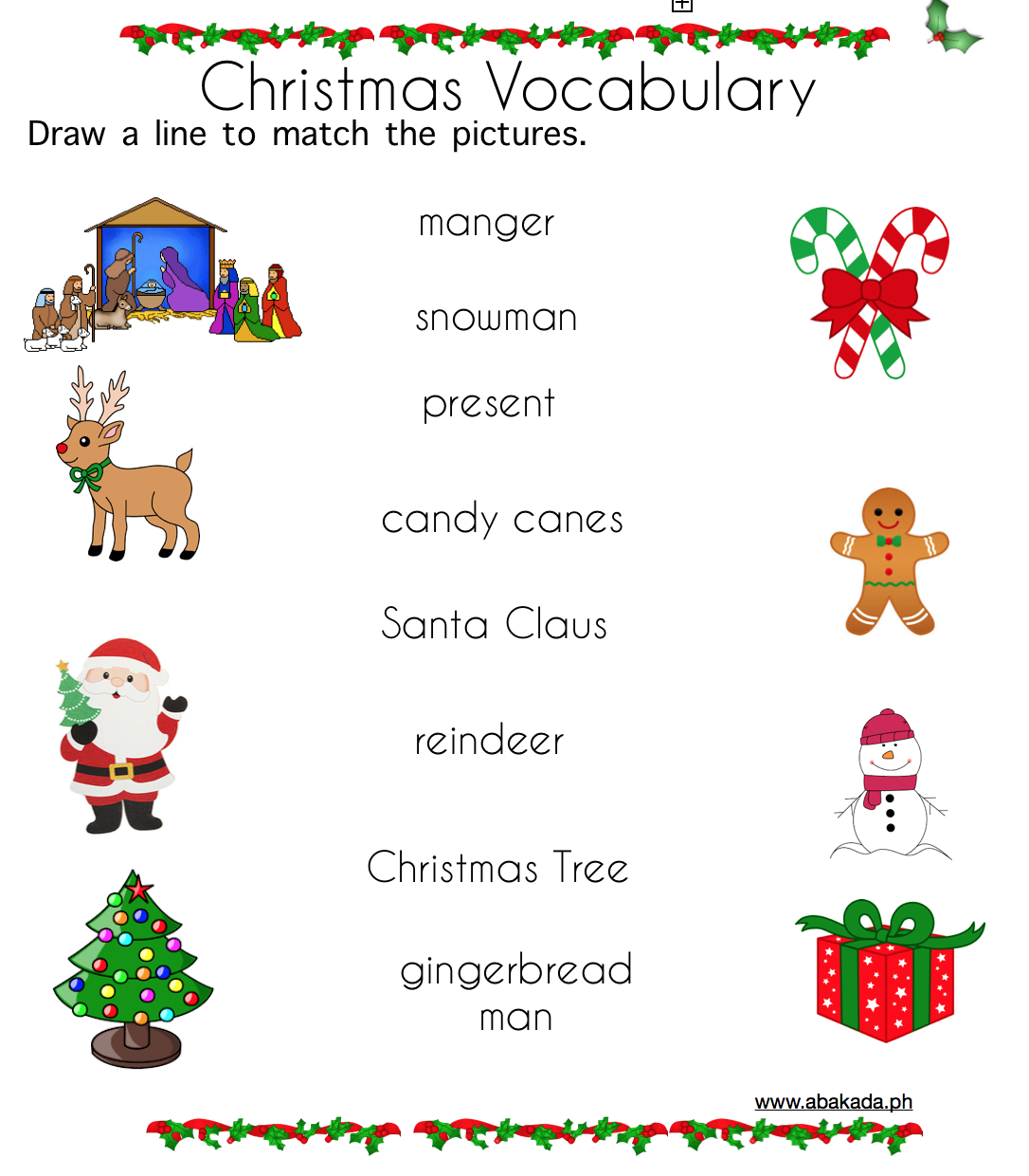 Christmas Vocabulary Worksheets For Preschoolers With