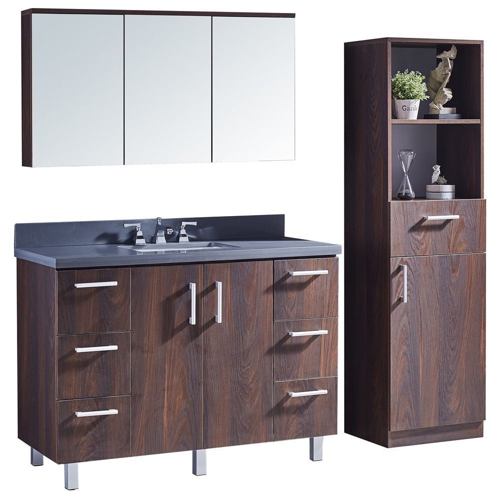 Infurniture 48 Bathroom Vanity With Grey Artificial Marble Top In Brown Elm  Wood Texture Finish With