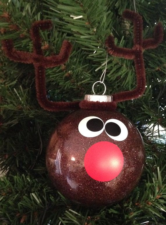 Decorating Glass Ball Ornaments Endearing Rudolf Reindeer Christmas Glitter Ornament Brown Red White And Decorating Inspiration