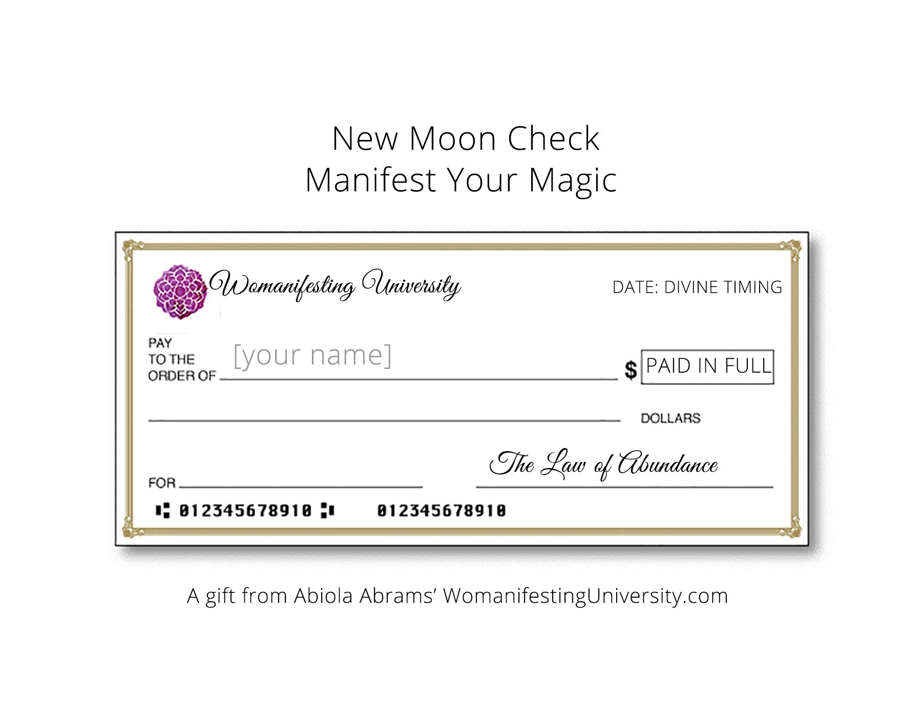 Womanifesting How To Use A New Moon Abundance Check Download