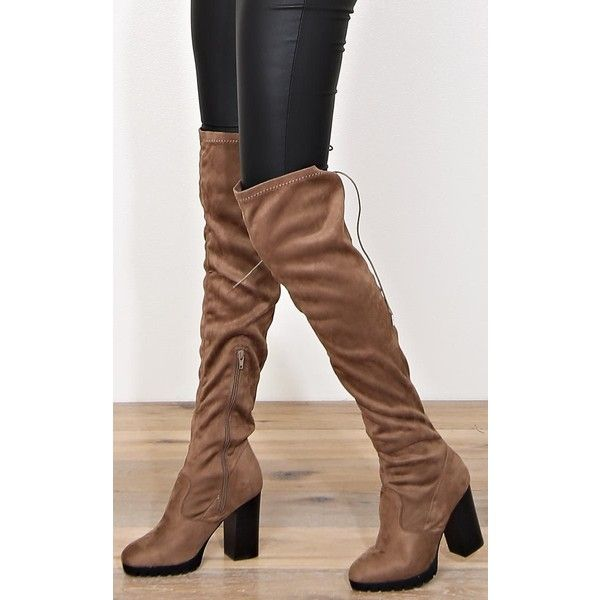 Keep Going Lace Up Thigh High Boots ($40) ❤ liked on Polyvore ...