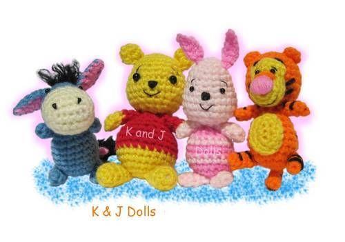 Winnie The Pooh Tigger Piglet Eyore Crochet Amigurumi From Little