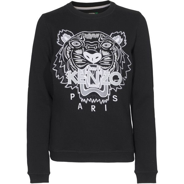 KENZO Tiger Stitch Black Embroidered sweater (790 BRL) ❤ liked on Polyvore  featuring tops, sweaters, blouses, stitch sweater, multi color sweater,  kenzo ... 16d1f6974f7