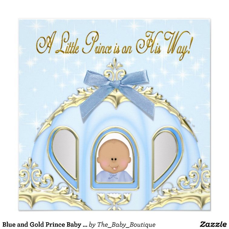 Blue and Gold Prince African American Baby Shower Card | Prince baby ...