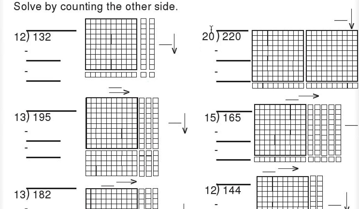 base ten block division worksheet   Math worksheets [ 864 x 1486 Pixel ]
