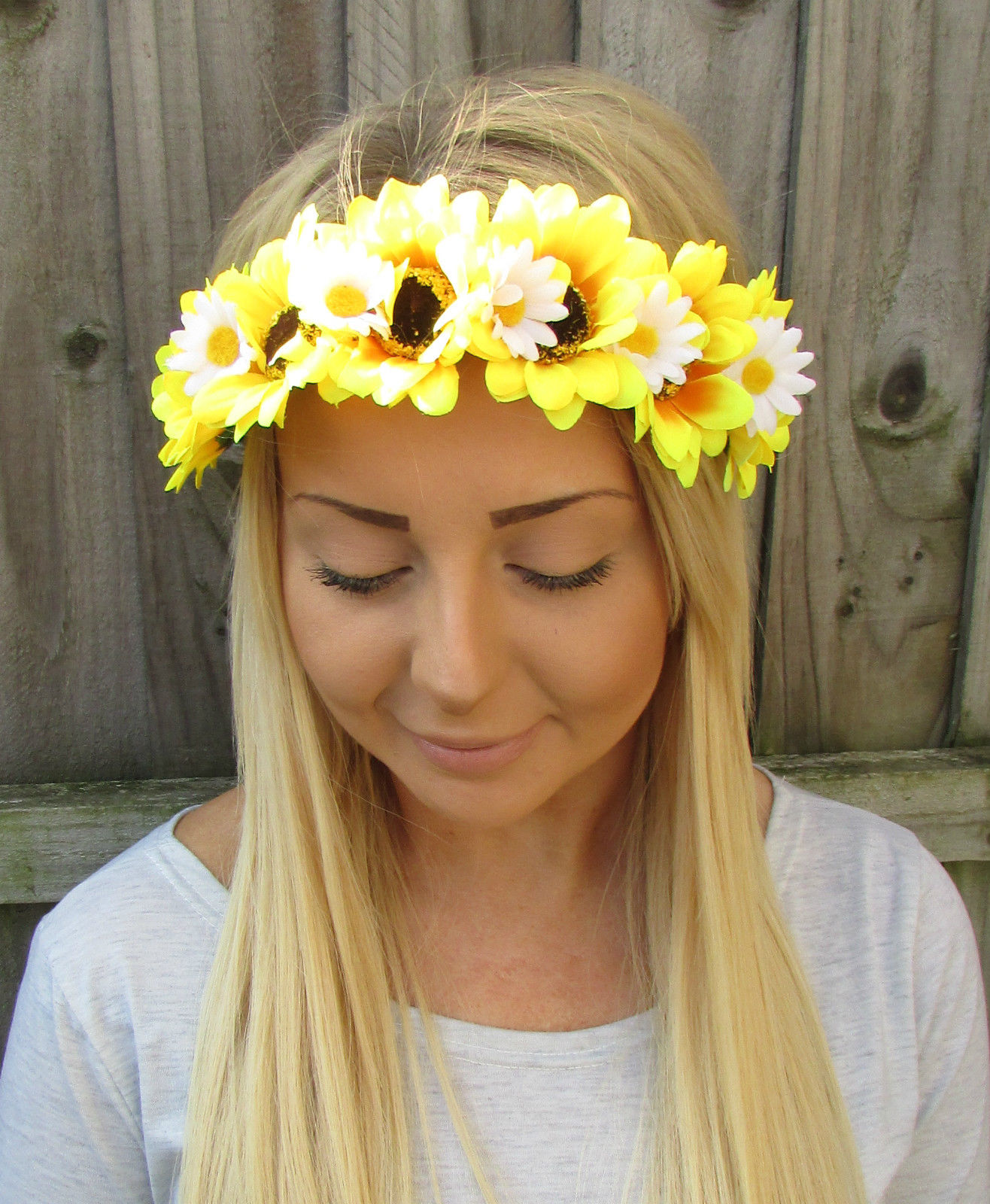895 Gbp Yellow White Sunflower Daisy Flower Garland Headband