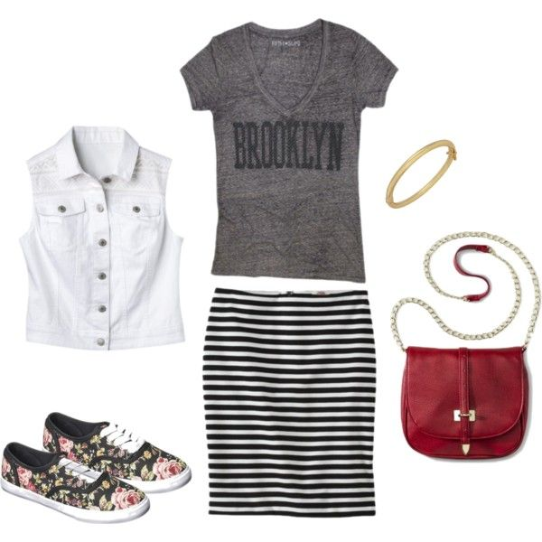 A fashion look from August 2014 featuring petite pencil skirt, red purse and bangle bracelet. Browse and shop related looks.