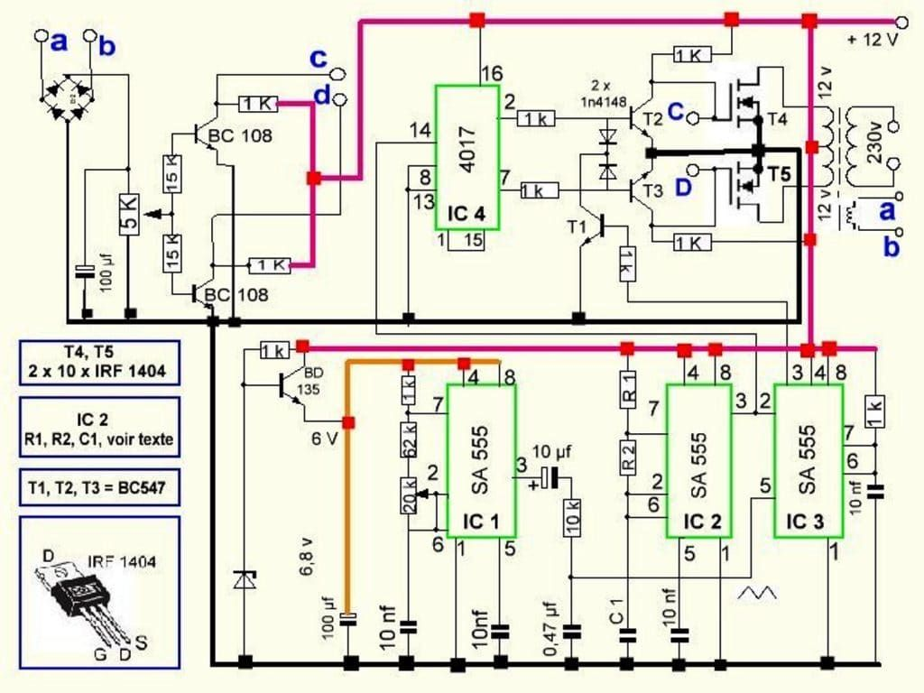 300 Watts PWM Controlled Pure Sine Wave Inverter Circuit ...
