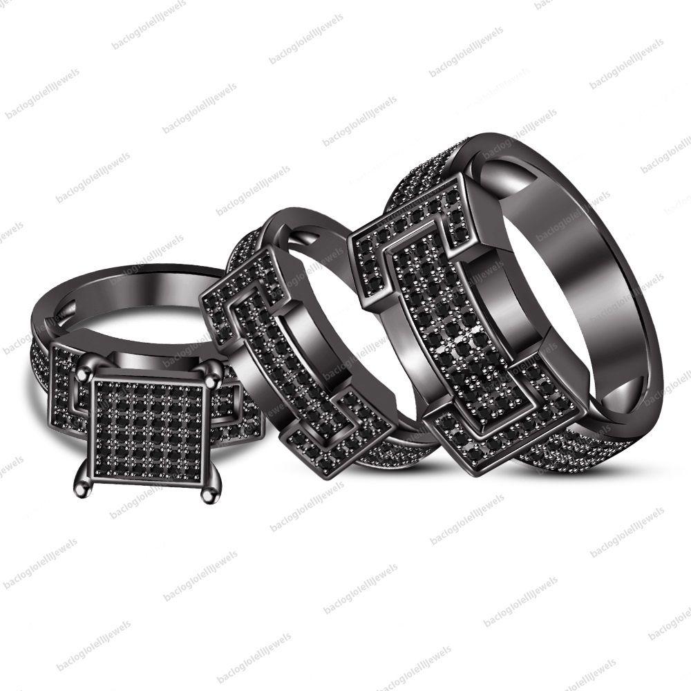 Black cz trio set his her matching engagement ring wedding