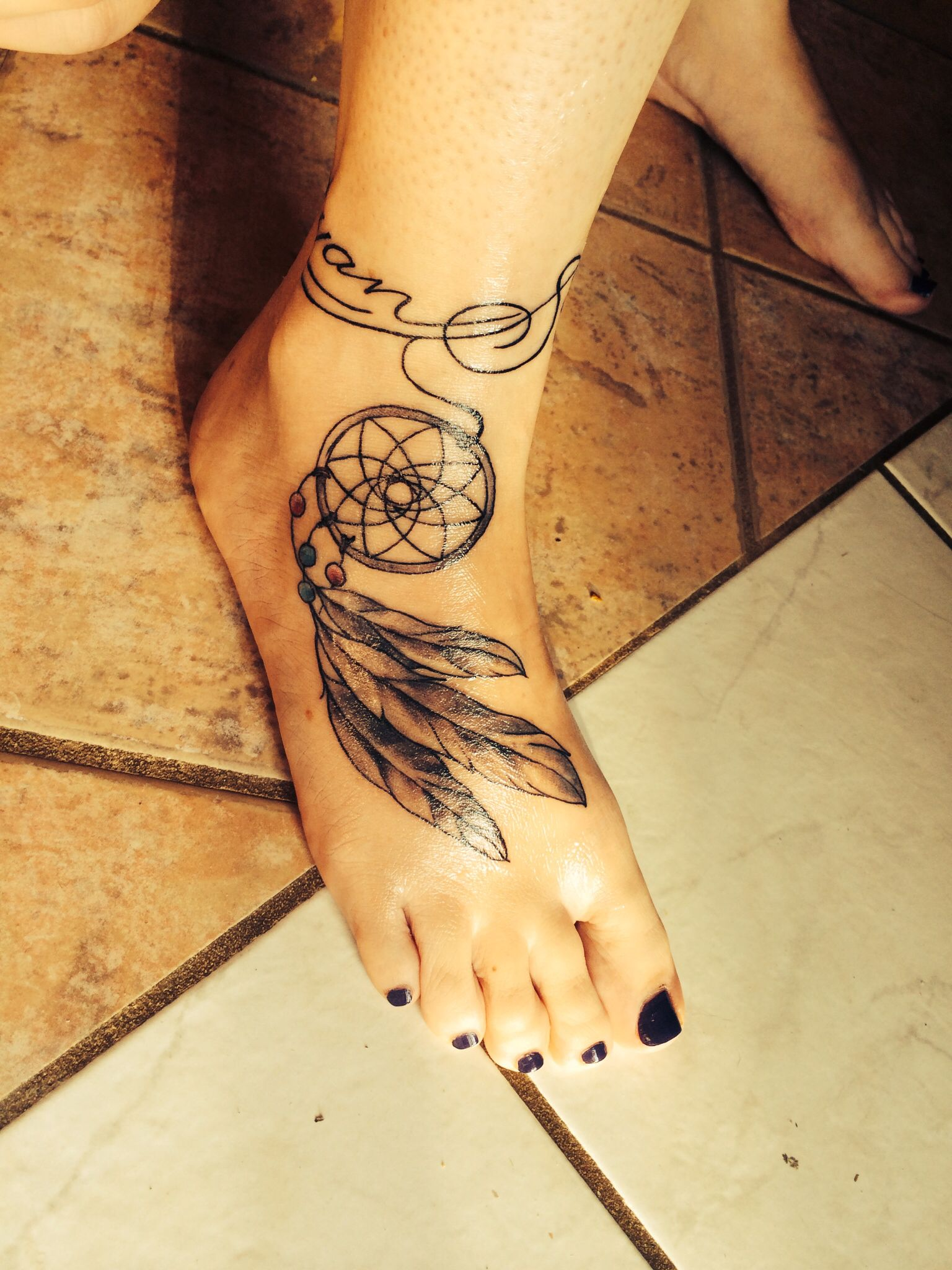 Dream Catcher Foot Tattoos Dream catcher foot tattoo with script ankle band Dreamcatcher 2