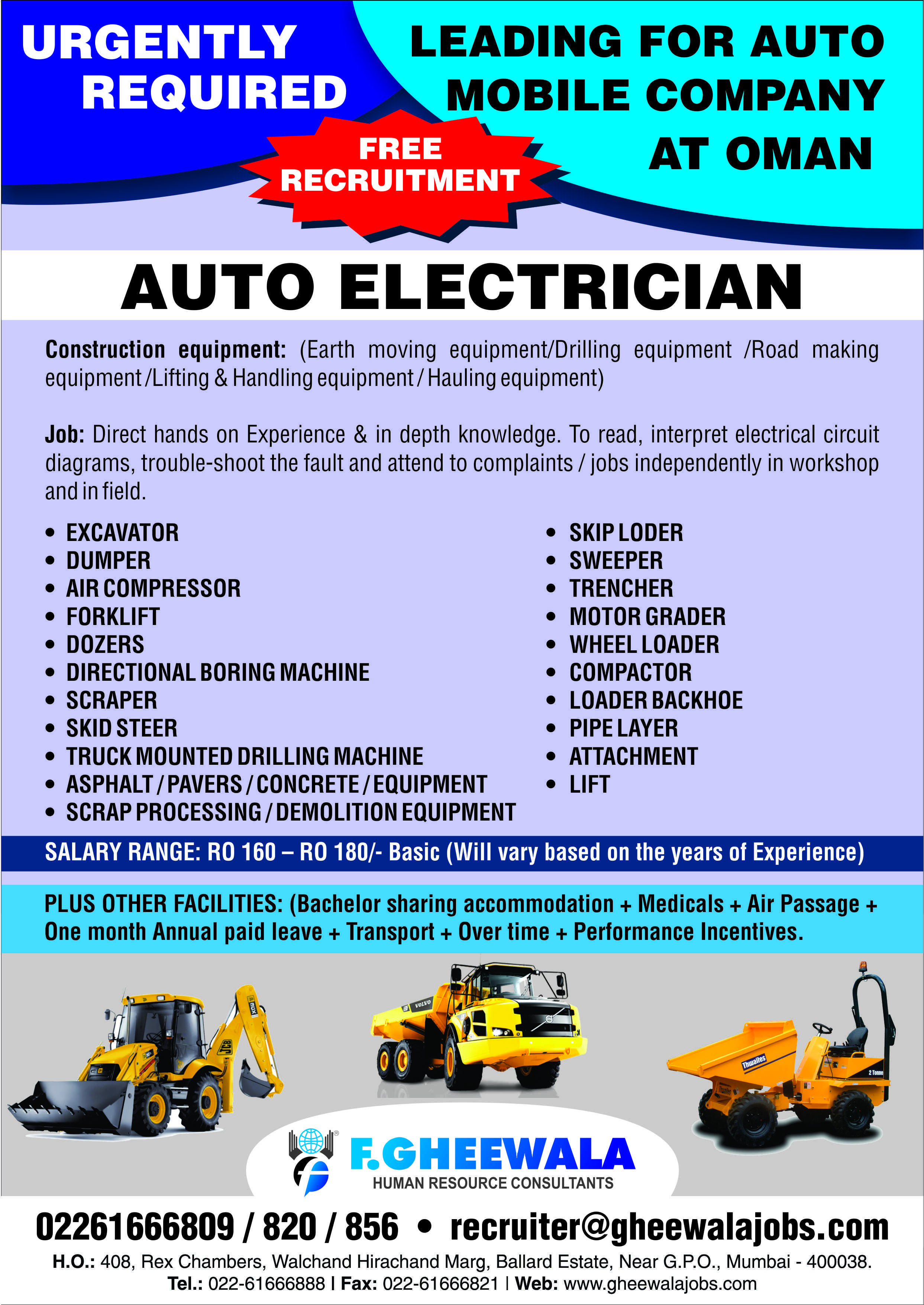 Urgent required AUTO ELECTRICIAN for Leading Auto Mobile