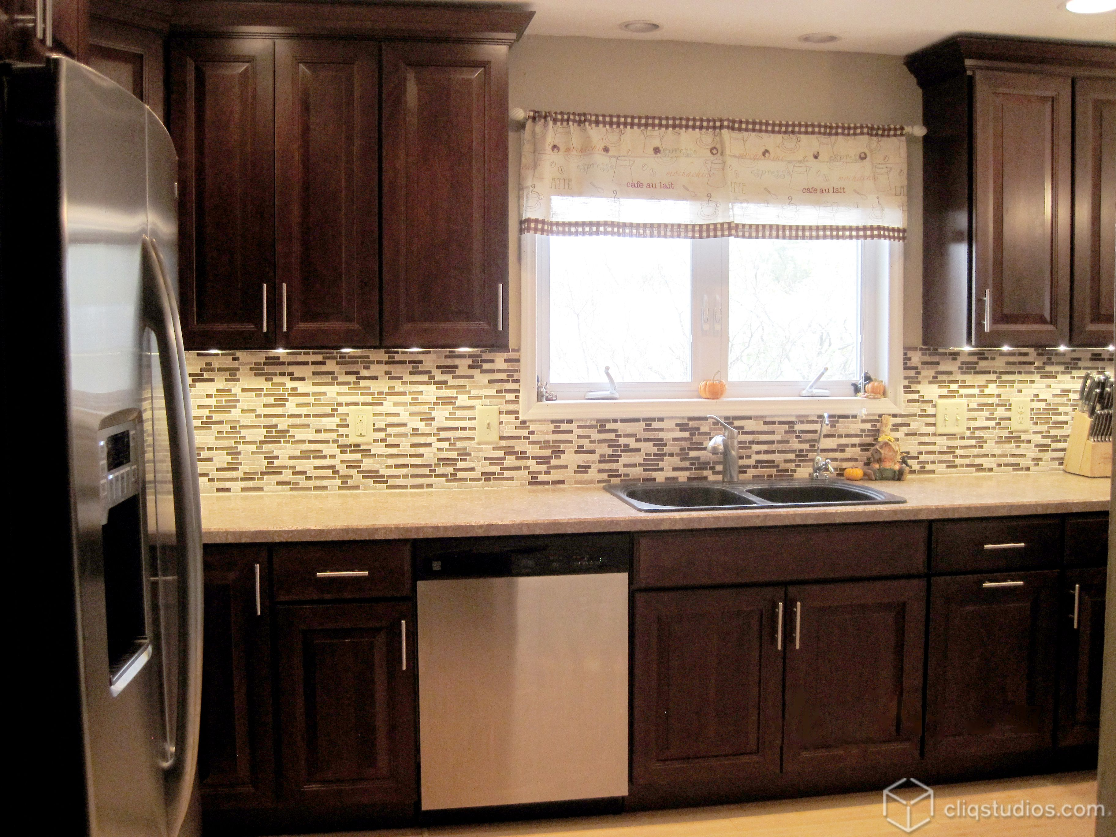 The Carlton kitchen cabinets in Cherry Russet