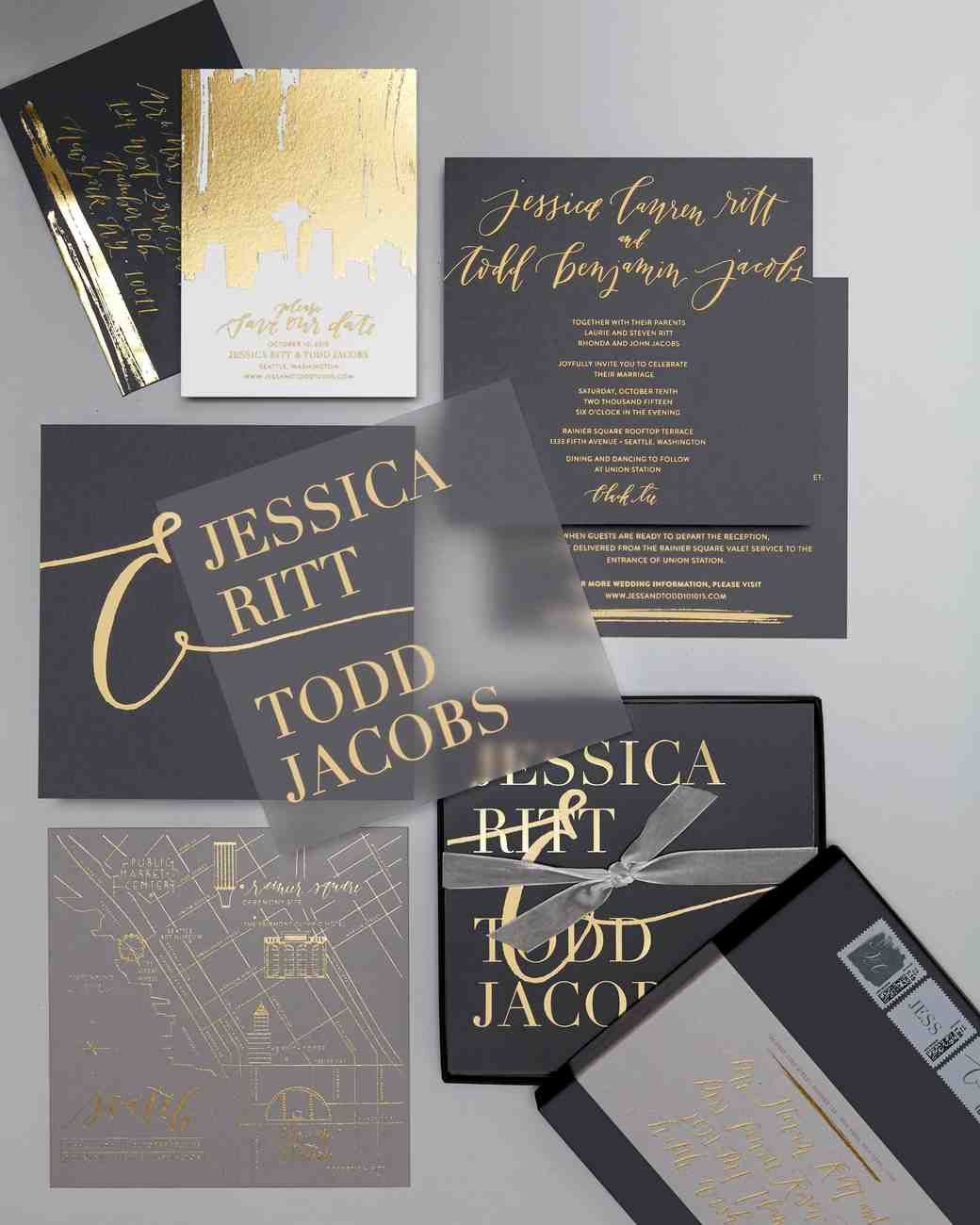 how to address couples on wedding invitations%0A Original Pin Caption  After toying with the   out of left field   idea of  leather invitations  the couple chose triplethick custom card stock  stamped with