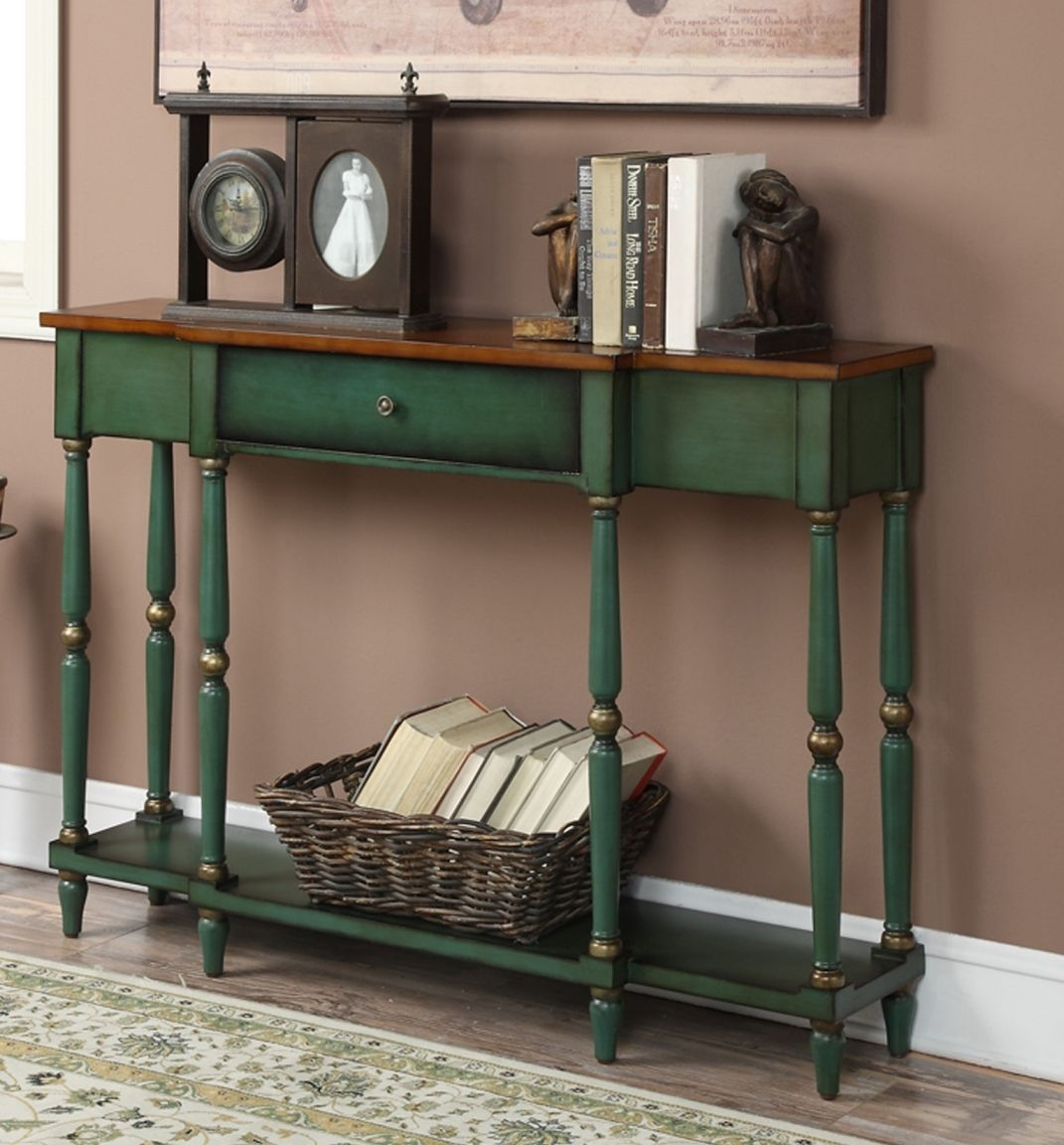 Antique green console table httpargharts pinterest wyoming two tone antique console table in oak veneer antique green finish convenience concepts 227999 geotapseo Choice Image