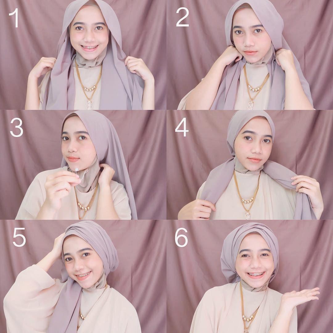 Tutorial Hijab Pashmina Wisuda Simple