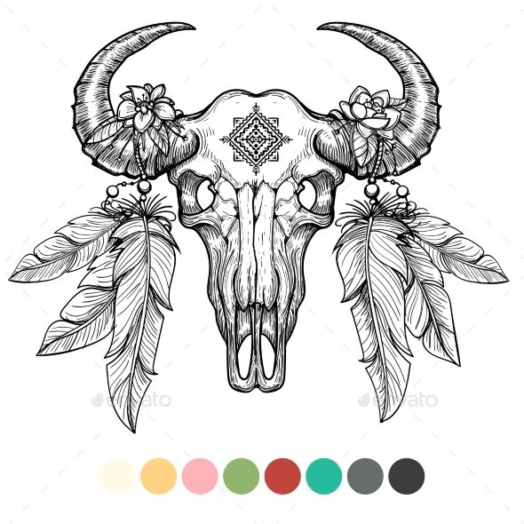 Animal Skull Coloring Design Skull Coloring Pages Bull Skull Tattoos Animal Skull Tattoos