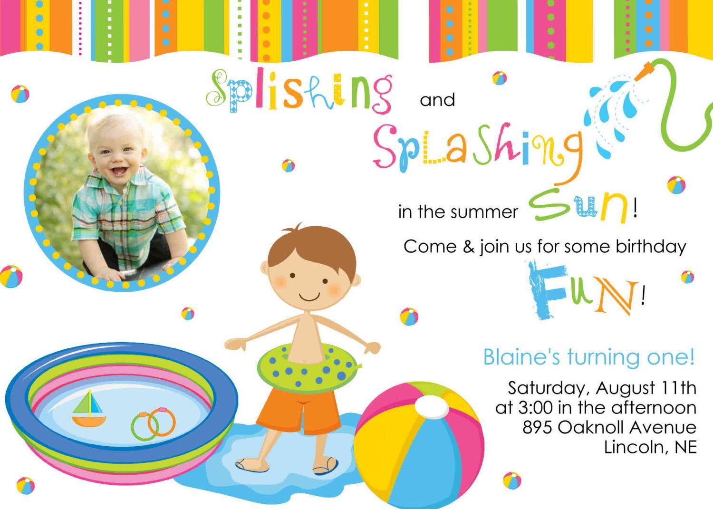Printable Boy Or Girl Kiddie Baby Pool Party Summer Birthday Invitation Digital File 999 Via Etsy