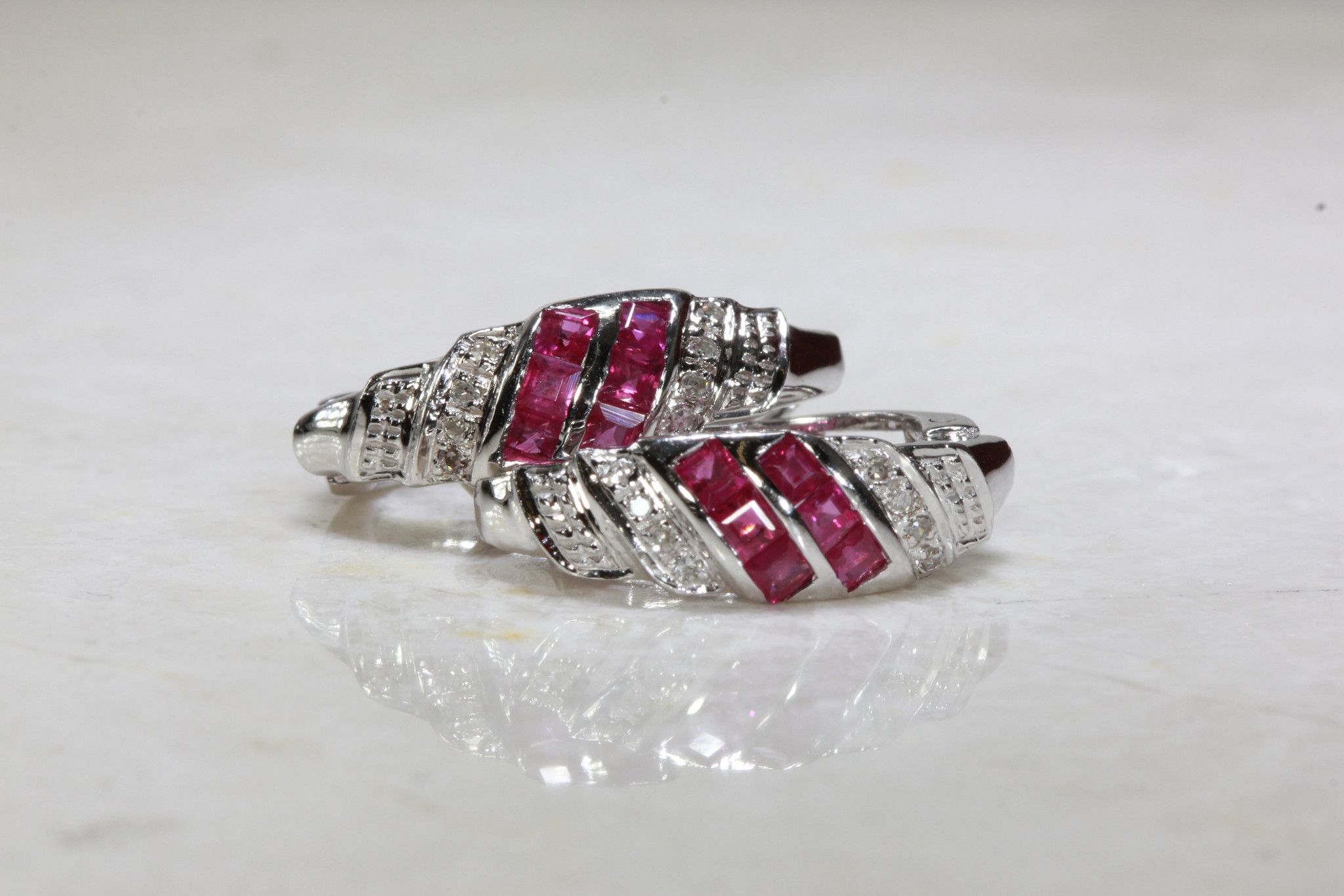 PRINCESS CUT RUBY & ROUND DIAMOND EARRING IN 14k WHITE GOLD SETTING