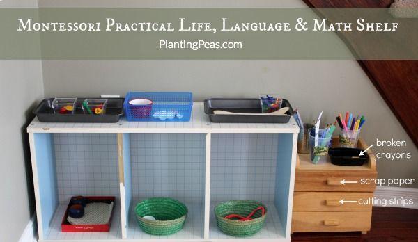 Montessori Homeschool Setup - Practical Life, Language, Math Shelf