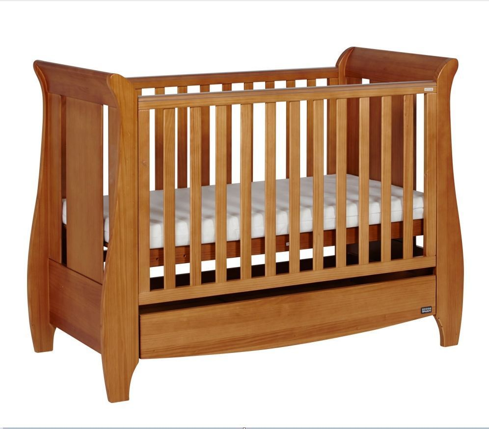 Cot Bed With Mattress Oak Wooden Sleigh Style Toddler Baby Nursery