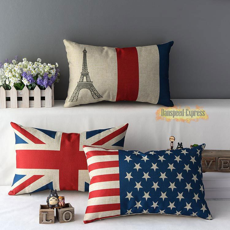Vintage Home Decorative Pillow Case Cotton Linen USA England Flag Cushion Cover  #Unbranded