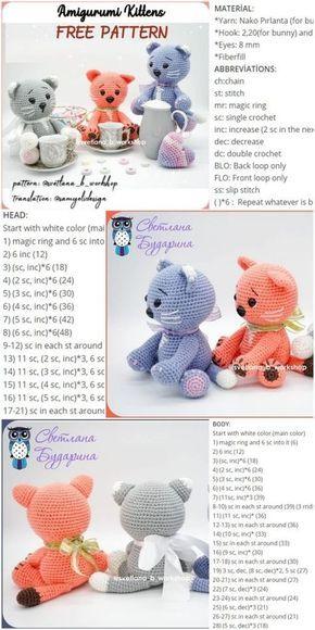 Amigurumi Kittens FREE PATTERN - Crochet.msa.plus #crochetbearpatterns